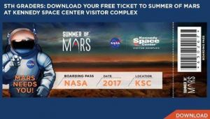 04/01-12/31 Kennedy Space Center Free Boarding Pass to Mars for Rising 5th Graders