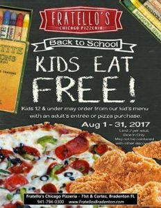08/01-08/31 Fratello's Kids Eat Free in August