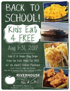 08/01-08/31 Riverhouse Reef and Grill Kids Eat Free in August